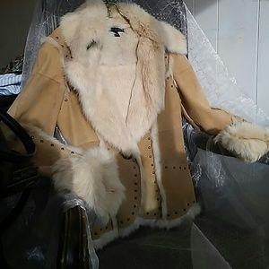 Sheri Bodell Stud trimmed Rabbit Fur jacket